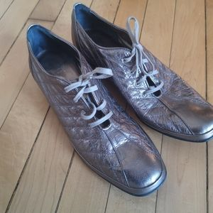 Amalfi Leather Metallic Oxford Lace Up Shoe